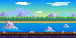 Υπόβαθρο παιχνιδιών ποταμών για τη 2$α εφαρμογή παιχνιδιών Στοκ εικόνα με δικαίωμα ελεύθερης χρήσης