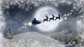 Υπόβαθρο Παραμονής Χριστουγέννων, μαγική σκηνή Χριστουγέννων με Άγιο Βασίλη σε ένα έλκηθρο που πετά με τον τάρανδό του διανυσματική απεικόνιση