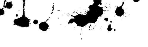 Υπόβαθρο παφλασμών, κτυπημάτων και λεκέδων μελανιού χρώμα splatter Μαύροι λεκέδες στο λευκό Αφηρημένη γραπτή διανυσματική απεικόν Στοκ Φωτογραφία