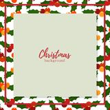Υπόβαθρο περιόδου διακοπών Χριστουγέννων με τα μούρα ελαιόπρινου ελεύθερη απεικόνιση δικαιώματος