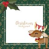 Υπόβαθρο περιόδου διακοπών Χριστουγέννων με τα χαριτωμένα μούρα ταράνδων και ελαιόπρινου απεικόνιση αποθεμάτων