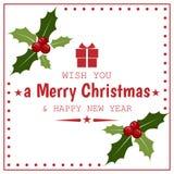 Υπόβαθρο περιόδου διακοπών Χριστουγέννων με τον κλάδο μούρων της Holly διανυσματική απεικόνιση