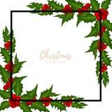 Υπόβαθρο περιόδου διακοπών Χριστουγέννων με τον κλάδο μούρων της Holly ελεύθερη απεικόνιση δικαιώματος