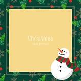 Υπόβαθρο περιόδου διακοπών Χριστουγέννων με το χιονάνθρωπο στα στοιχεία χειμερινών συνήθειας και Χριστουγέννων διανυσματική απεικόνιση