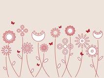 Υπόβαθρο πεταλούδων και λουλουδιών Στοκ Εικόνες