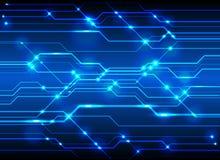 Υπόβαθρο πινάκων κυκλωμάτων υψηλής τεχνολογίας, μπλε κύκλωμα τεχνολογίας abst διανυσματική απεικόνιση