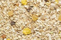 Υπόβαθρο προγευμάτων Muesli Οργανικά τραγανά σπιτικά δημητριακά με τις βρώμες και τα μούρα κατανάλωση έννοιας υγιής στοκ φωτογραφίες