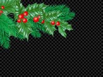 Υπόβαθρο προτύπων ευχετήριων καρτών Χριστουγέννων του στεφανιού φύλλων ελαιόπρινου και του νέας έλατου έτους ή της διακόσμησης δέ Στοκ Εικόνες