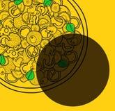 Υπόβαθρο προτύπων με τα σχέδια πιτσών doodle για τις αφίσες, επιλογές Στοκ Εικόνες