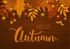 Υπόβαθρο πτώσης φθινοπώρου με τα φύλλα και την κρεμώντας εορταστική γιρλάντα βολβών φω'των Στοκ Εικόνα
