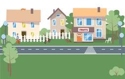 Υπόβαθρο πόλεων - σύγχρονη επίπεδη διανυσματική απεικόνιση ύφους σχεδίου στο άσπρο υπόβαθρο Καλή κατοικία σύνθετη με μικρό απεικόνιση αποθεμάτων