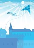 Υπόβαθρο πόλεων με τον ικτίνο Στοκ φωτογραφία με δικαίωμα ελεύθερης χρήσης