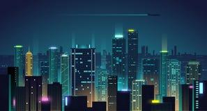 Υπόβαθρο πόλεων νύχτας Στοκ Εικόνες