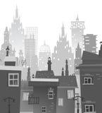 Υπόβαθρο πόλεων φιαγμένο από πολλές σκιαγραφίες οικοδόμησης Στοκ Φωτογραφία