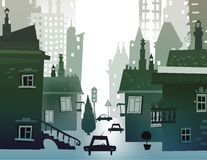 Υπόβαθρο πόλεων φιαγμένο από πολλές σκιαγραφίες οικοδόμησης Στοκ φωτογραφία με δικαίωμα ελεύθερης χρήσης