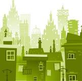 Υπόβαθρο πόλεων φιαγμένο από πολλές σκιαγραφίες οικοδόμησης Στοκ Εικόνα