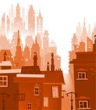 Υπόβαθρο πόλεων φιαγμένο από πολλές σκιαγραφίες οικοδόμησης Στοκ Φωτογραφίες