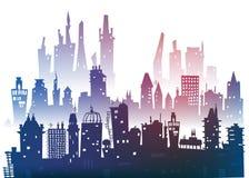 Υπόβαθρο πόλεων φιαγμένο από πολλές σκιαγραφίες οικοδόμησης Στοκ εικόνα με δικαίωμα ελεύθερης χρήσης