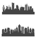 Υπόβαθρο πόλεων φιαγμένο από πολλές σκιαγραφίες οικοδόμησης Στοκ εικόνες με δικαίωμα ελεύθερης χρήσης
