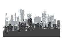 Υπόβαθρο πόλεων φιαγμένο από πολλές σκιαγραφίες οικοδόμησης Στοκ Εικόνες