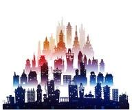 Υπόβαθρο πόλεων φιαγμένο από πολλές σκιαγραφίες οικοδόμησης Στοκ φωτογραφίες με δικαίωμα ελεύθερης χρήσης