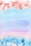 Υπόβαθρο ρόδινος-μπλε Watercolor Στοκ φωτογραφία με δικαίωμα ελεύθερης χρήσης