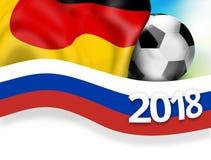 υπόβαθρο σημαιών ποδοσφαίρου της Ρωσίας Γερμανία ποδοσφαίρου του 2018 τρισδιάστατο Στοκ φωτογραφία με δικαίωμα ελεύθερης χρήσης