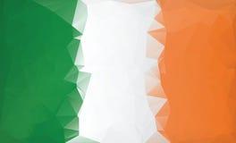 Υπόβαθρο σημαιών της Ιρλανδίας Χαμηλό πολυ ύφος Στοκ Εικόνες