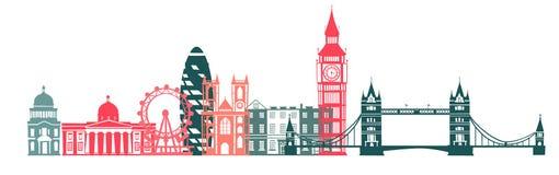 Υπόβαθρο σκιαγραφιών χρώματος οριζόντων πόλεων του Λονδίνου επίσης corel σύρετε το διάνυσμα απεικόνισης απεικόνιση αποθεμάτων