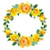 Υπόβαθρο στεφανιών με τα Yellow Rose διανυσματική απεικόνιση