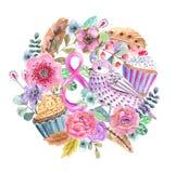 Υπόβαθρο στεφανιών λουλουδιών Watercolor για το όμορφο σχέδιο απεικόνιση αποθεμάτων