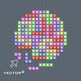 Υπόβαθρο στο ύφος παιχνιδιών, διάνυσμα Χρωματισμένα τετραγωνικά τεμάχια απεικόνιση αποθεμάτων