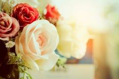Υπόβαθρο συνόρων άνοιξη με τα ζωηρόχρωμα τριαντάφυλλα Στοκ Φωτογραφίες