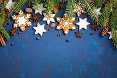 Υπόβαθρο συνόρων μπισκότων Χριστουγέννων Στοκ Φωτογραφία