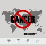 Υπόβαθρο σχεδίου ημέρας παγκόσμιου καρκίνου με τα εικονίδια επίσης corel σύρετε το διάνυσμα απεικόνισης διανυσματική απεικόνιση