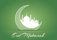 Υπόβαθρο σχεδίου του Μουμπάρακ Eid Διανυσματική απεικόνιση για τη ευχετήρια κάρτα, την αφίσα και το έμβλημα Στοκ Φωτογραφίες