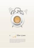 Υπόβαθρο σχεδίου έννοιας χρονικών ρολογιών φλυτζανιών καφέ Στοκ Φωτογραφίες