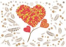 Υπόβαθρο σχεδίων λουλουδιών καρδιών Στοκ Εικόνες