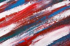 Υπόβαθρο σύστασης - κλείστε επάνω των μπλε και κόκκινων κτυπημάτων χρωμάτων Στοκ Φωτογραφίες