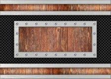 Υπόβαθρο σύστασης μετάλλων με τα ξύλινα ένθετα για το σχέδιο, τρισδιάστατο, illus Στοκ Φωτογραφία