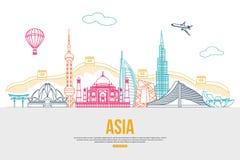 Υπόβαθρο ταξιδιού της Ασίας με τη θέση για το κείμενο Στοκ Φωτογραφία