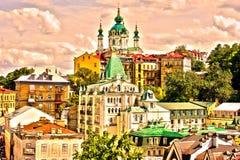 Υπόβαθρο ταπετσαριών της Ουκρανίας Κίεβο Εκκλησία του ST Andrew ` s καθεδρικών ναών στοκ εικόνα