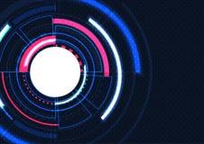 Υπόβαθρο τεχνολογίας, φουτουριστικός πίνακας κυκλωμάτων στη μορφή κύκλων διανυσματική απεικόνιση