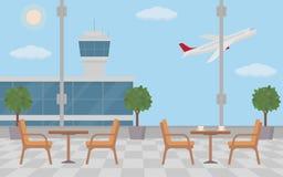 Υπόβαθρο της αίθουσας στον αερολιμένα με τα κενά τραπεζάκια σαλονιού Στοκ Εικόνα