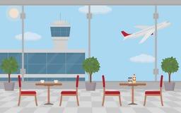 Υπόβαθρο της αίθουσας στον αερολιμένα με τα κενά τραπεζάκια σαλονιού Στοκ φωτογραφίες με δικαίωμα ελεύθερης χρήσης