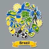 Υπόβαθρο της Βραζιλίας με τα αντικείμενα αυτοκόλλητων ετικεττών και Στοκ Εικόνα