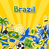 Υπόβαθρο της Βραζιλίας με τα αντικείμενα αυτοκόλλητων ετικεττών και Στοκ Εικόνες