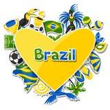 Υπόβαθρο της Βραζιλίας με τα αντικείμενα αυτοκόλλητων ετικεττών και Στοκ εικόνα με δικαίωμα ελεύθερης χρήσης
