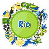 Υπόβαθρο της Βραζιλίας με τα αντικείμενα αυτοκόλλητων ετικεττών και διανυσματική απεικόνιση