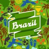 Υπόβαθρο της Βραζιλίας με τα τυποποιημένα αντικείμενα και ελεύθερη απεικόνιση δικαιώματος